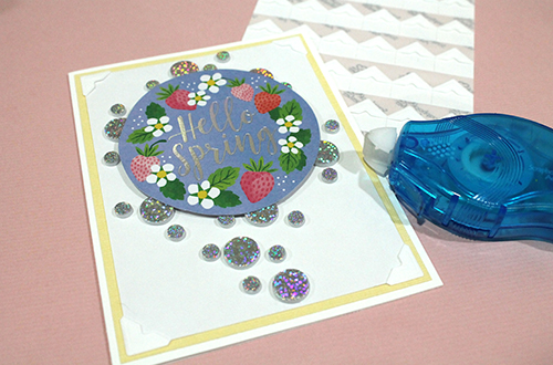 Circled Hello Spring Card Tutorial by Tracy McLennon for Scrapbook Adhesives by 3L