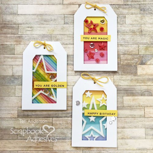 Birthday Window Tags Tutorial by Teri Anderson for Scrapbook Adhesives by 3L