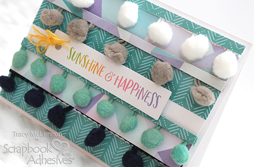 Fun Pom Pom Card Tutorial by Tracy McLennon for Scrapbook Adhesives by 3L