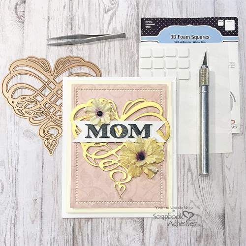 Swirl Heart Mom Card by Yvonne van de Grijp for Scrapbook Adhesives by 3L