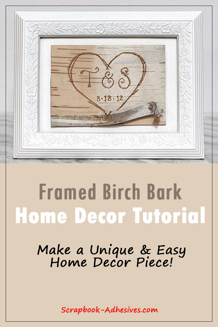 Framed Birch Bark Decor by Tracy McLennon for Scrapbook Adhesives by 3L Pinterest