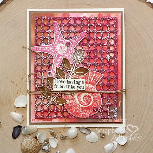 Embossed Background Sea Shell Card by Connie Mercer for Scrapbook Adhesives by 3L