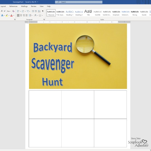 Kids Craft: Backyard Scavenger Hunt by Dana Tatar for Scrapbook Adhesives by 3L