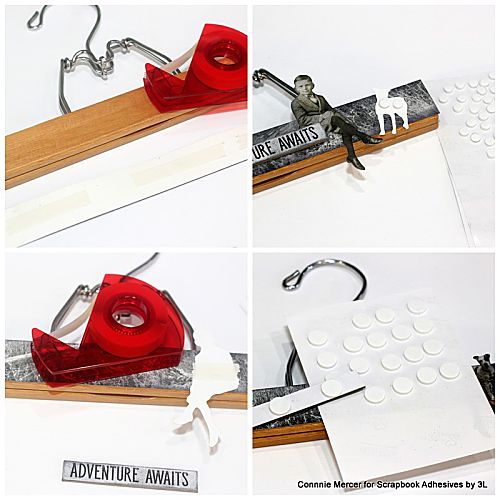 Re-Purposed to Art Hangers by Connie Mercer for Scrapbook Adhesives by 3L