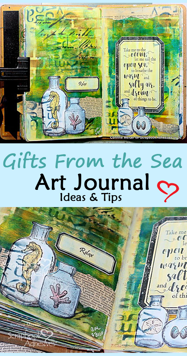 Gifts from the Sea Art Journal Pages by Connie Mercer for Scrapbook Adhesives by 3L Pinterest