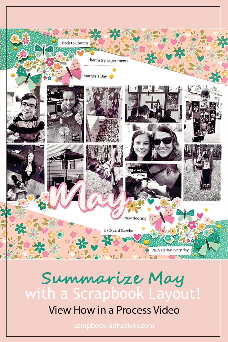 May Scrapbook Layout by Christine Meyer for Scrapbook Adhesives by 3L Pinterest
