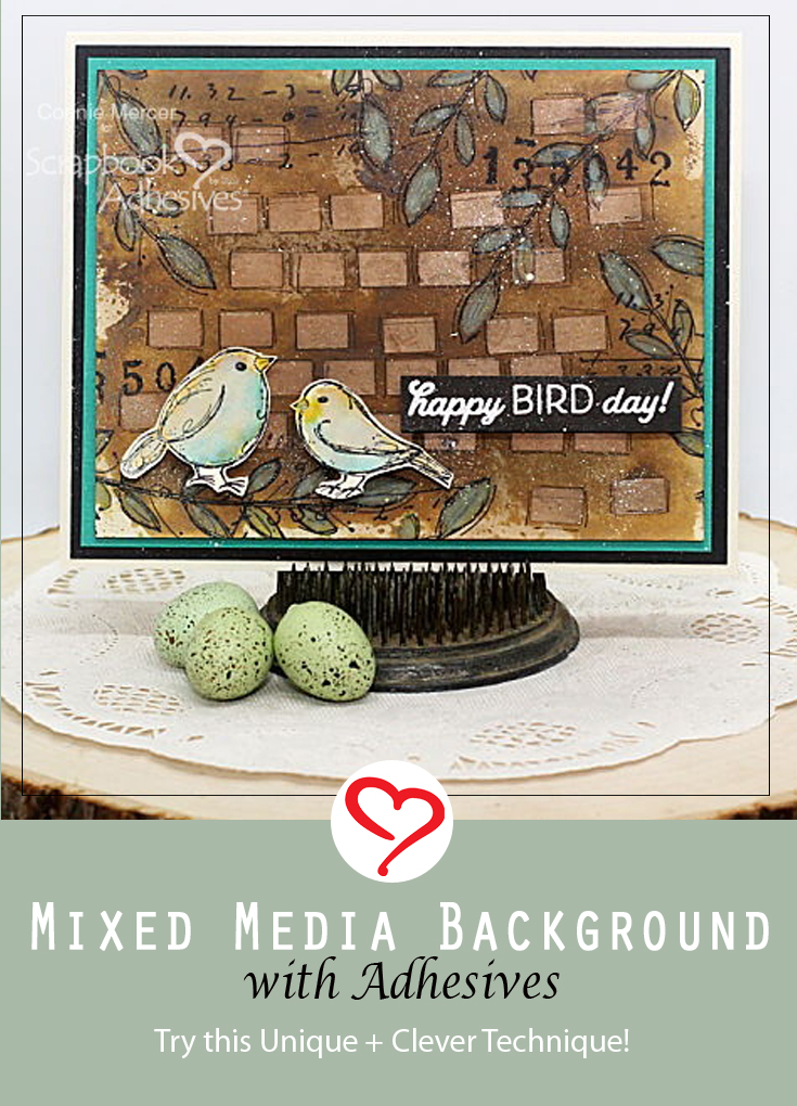 Mixed Media Background with Adhesive by Connie Mercer for Scrapbook Adhesives by 3L Pinterest