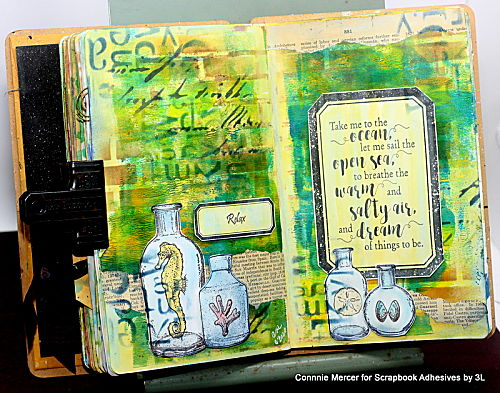 Gifts from the Sea Art Journal Pages by Connie Mercer for Scrapbook Adhesives by 3L