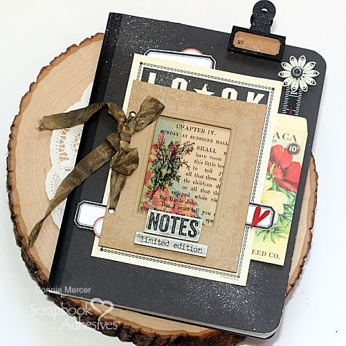 Vintage Inspired Altered Composition Book by Connie Mercer for Scrapbook Adhesives by 3L
