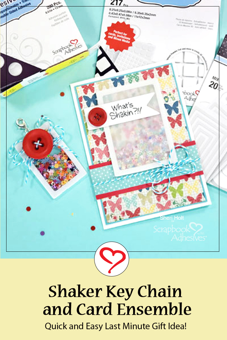 Shaker Key Chain and Card Ensemble by Sheri Holt for Scrapbook Adhesives by 3L Pinterest