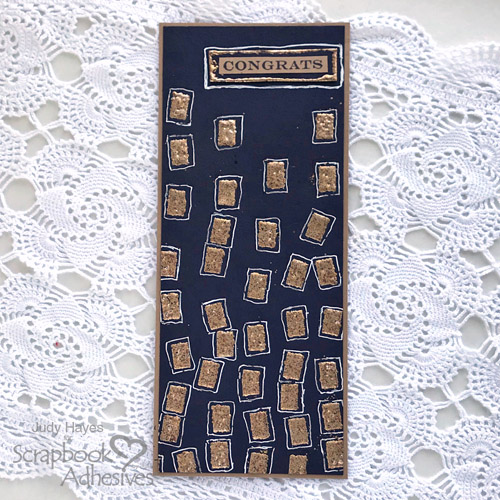 Wonky Embossed Squares Congrats Card by Judy Hayes for Scrapbook Adhesives by 3L
