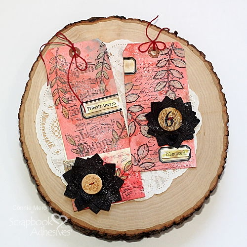 Friends Mixed Media Tags with Photo Corner Flower by Connie Mercer for Scrapbook Adhesives by 3L