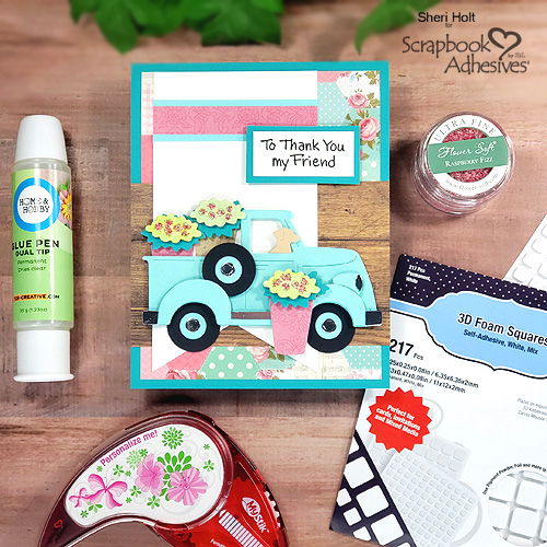 Flower Truck Thank You Card by Sheri Holt for Scrapbook Adhesives by 3L