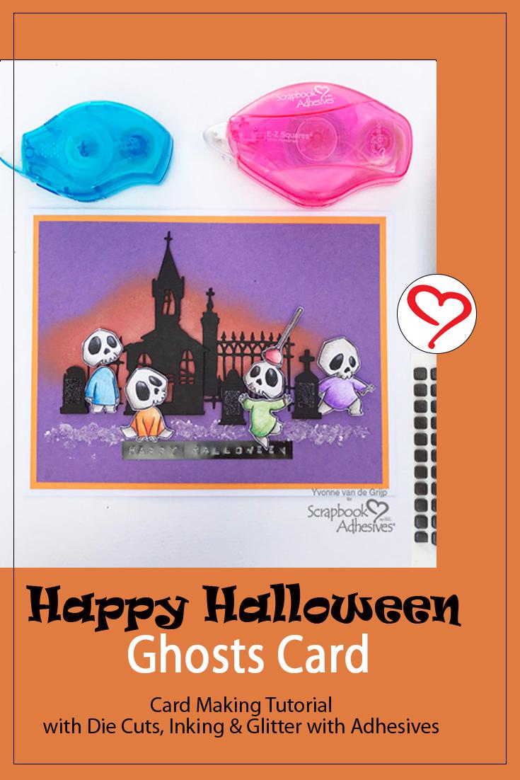 Cute Halloween Ghosts Card by Yvonne van de Grijp for Scrapbook Adhesives by 3L Pinterest