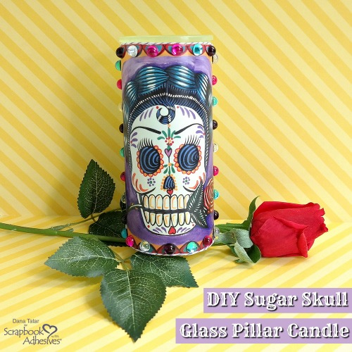 Sugar Skull Candle Décor by Dana Tatar for Scrapbook Adhesives by 3L