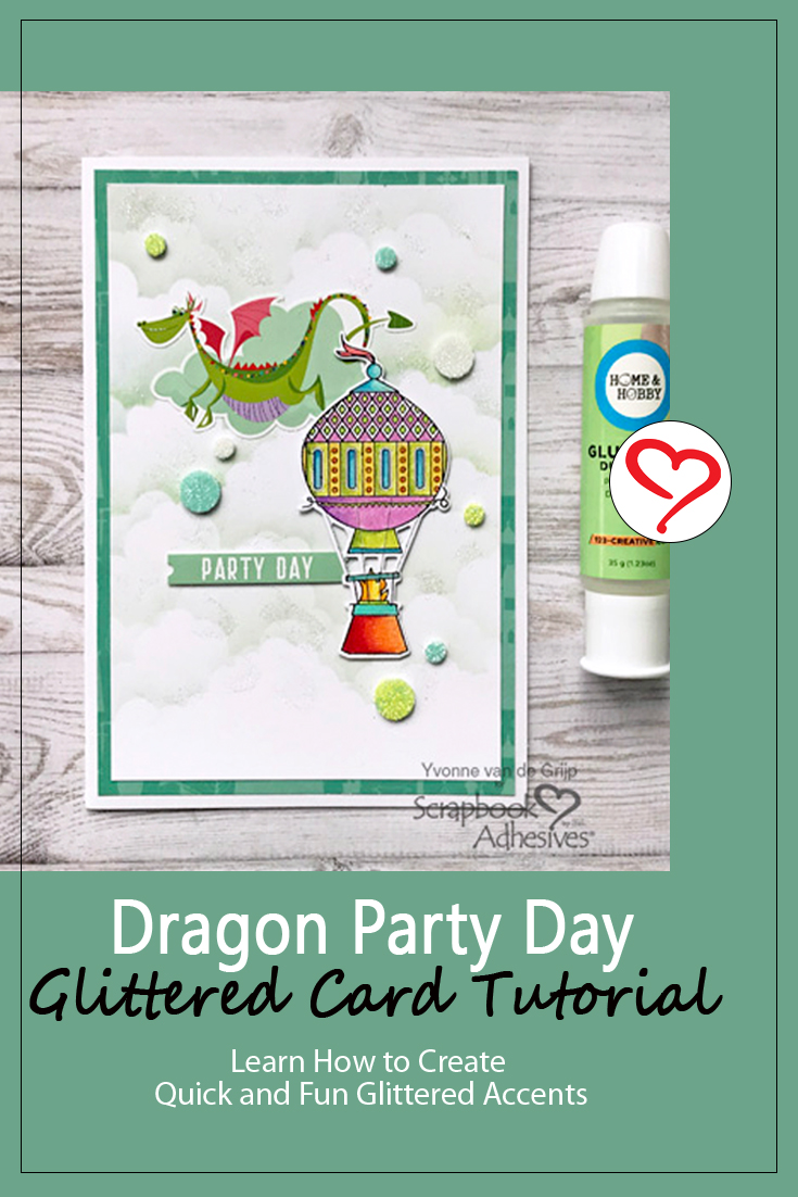 Dragon Party Day Glittered Card by Yvonne van de Grijp for Scrapbook Adhesives by 3L Pinterest