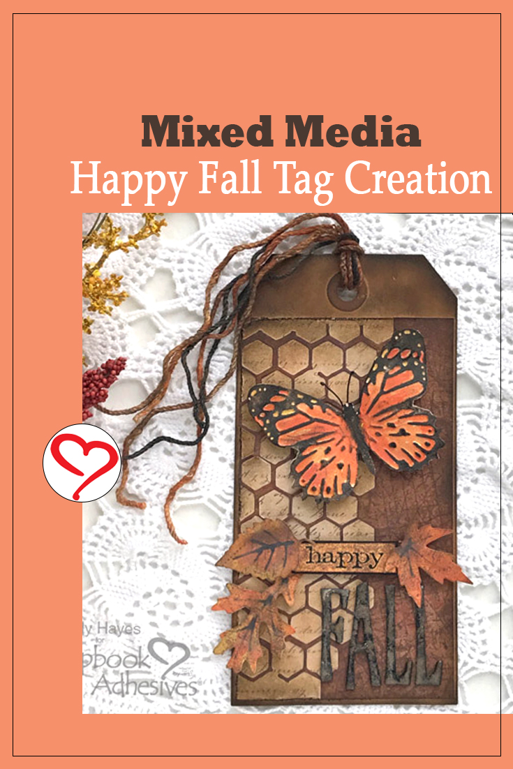 Mixed Media Happy Fall Tag by Judy Hayes for Scrapbook Adhesives by 3L Pinterest