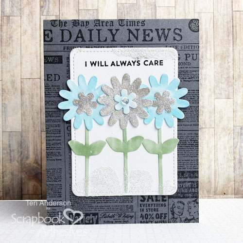 Glittered Flowers for Cards Tutorial by Teri Anderson for Scrapbook Adhesives by 3L