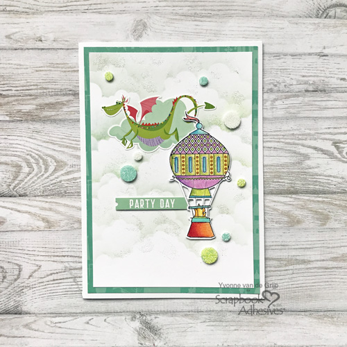 Dragon Party Day Glittered Card by Yvonne van de Grijp for Scrapbook Adhesives by 3L
