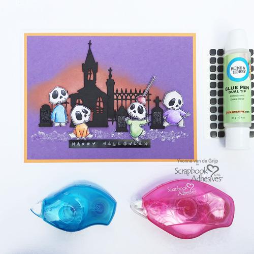 Cute Halloween Ghosts Card by Yvonne van de Grijp for Scrapbook Adhesives by 3L