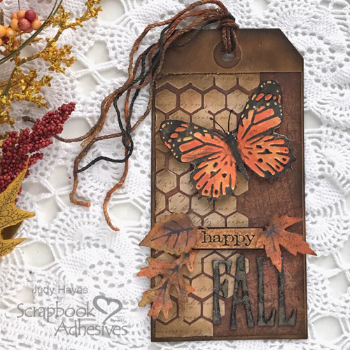 Mixed Media Happy Fall Tag by Judy Hayes for Scrapbook Adhesives by 3L
