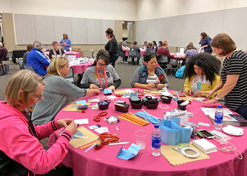 Birthday Origami Wallet Tutorial by Margie Higuchi for Scrapbook Adhesives by 3L The Collins Group Sample Frenzy Event at AFCI SAby3L Table