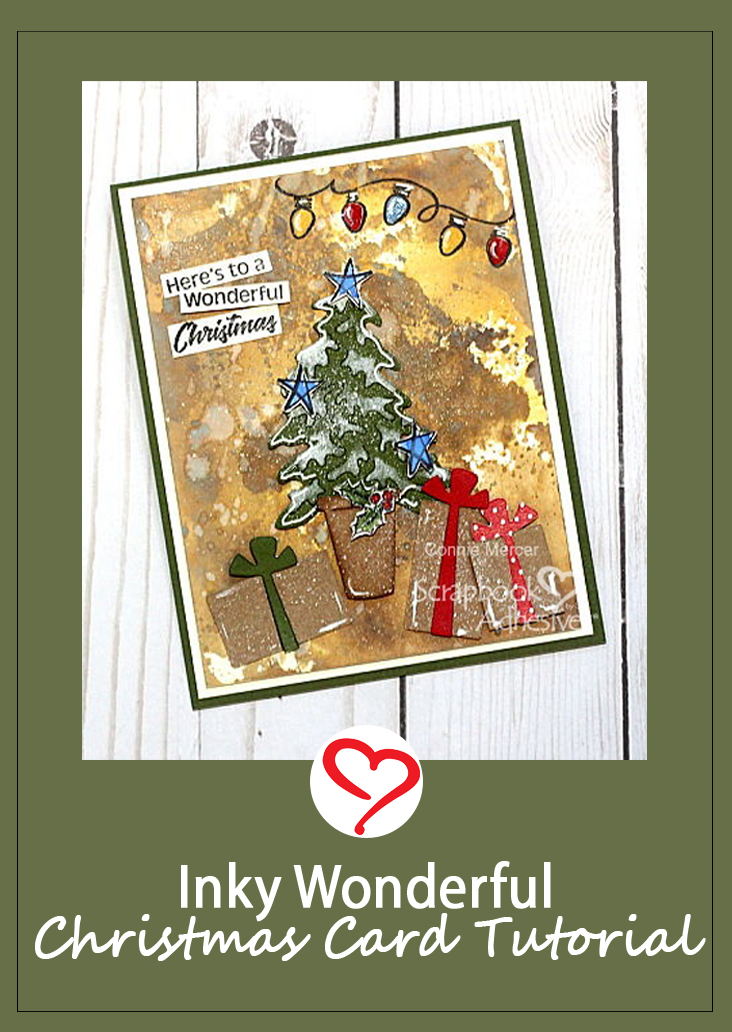 Inky Wonderful Christmas Card Tutorial by Connie Mercer for Scrapbook Adhesives by 3L Pinterest