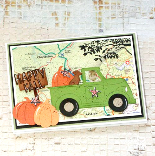 Vintage Map Fall Card by Connie Mercer for Scrapbook Adhesives by 3L
