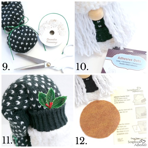 No-Sew Mop Gnome Tutorial by Dana Tatar for Scrapbook Adhesives by 3L