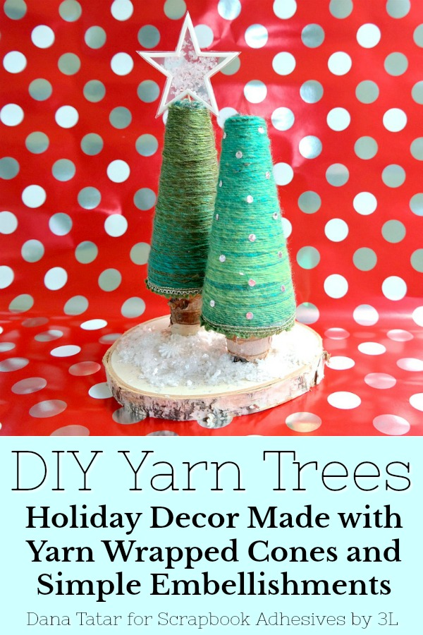 Yarn Tree Holiday Décor by Dana Tatar for Scrapbook Adhesives by 3L Pinterest