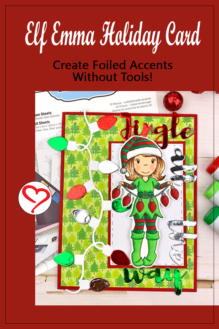 Elf Emma with Foiled Lights Card by Meghan Kennihan for Scrapbook Adhesives by 3L Pinterest