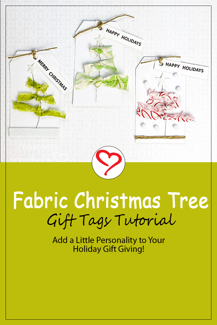 Fabric Christmas Tree Tags by Teri Anderson for Scrapbook Adhesives by 3L Pinterest