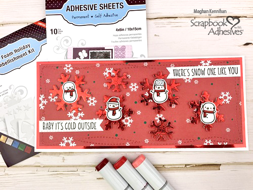 Foiled Snowflake + Snowmen Holiday Card by Meghan Kennihan for Scrapbook Adhesives by 3L