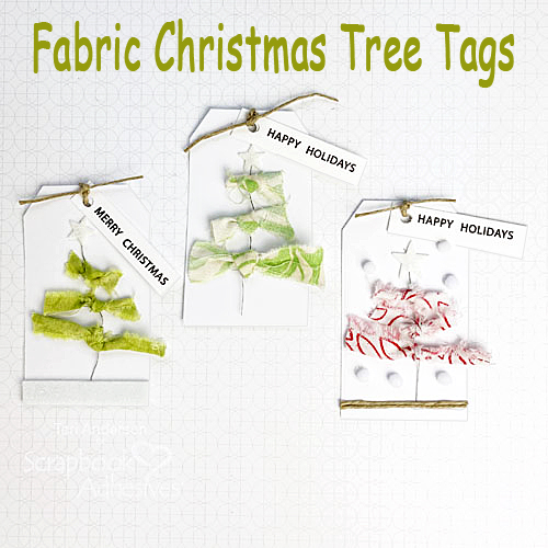 Fabric Christmas Tree Tags by Teri Anderson for Scrapbook Adhesives by 3L with text