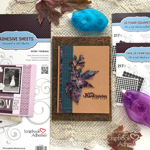 Foil + Inky Leaves Card Technique by Judy Hayes for Scrapbook Adhesives by 3L