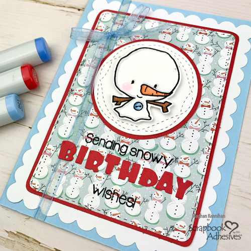 Snowy Birthday Wishes Card by Meghan Kennihan for Scrapbook Adhesives by 3L