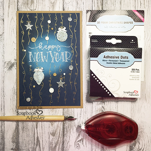 Happy New Year Celebration Card by Yvonne van de Grijp for Scrapbook Adhesives by 3L