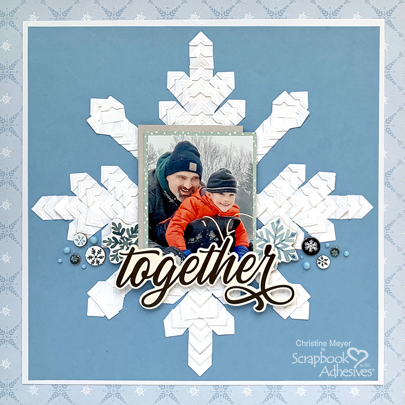 Creative Photo Corner Snowflake Layout by Christine Meyer for Scrapbook Adhesives by 3L