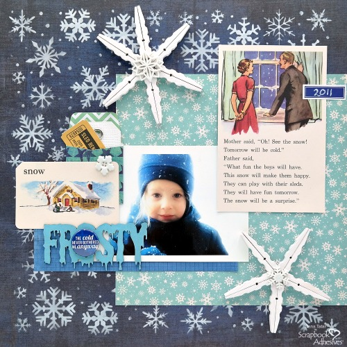 Clothespin Snowflakes for Winter Crafts by Dana Tatar for Scrapbook Adhesives by 3L