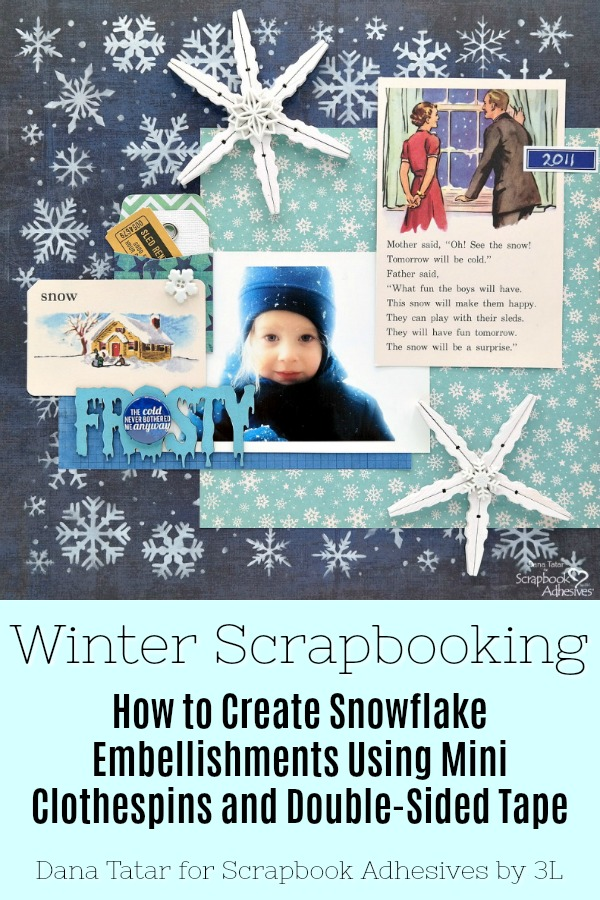 Clothespin Snowflakes for Winter Crafts by Dana Tatar for Scrapbook Adhesives by 3L Pinterest