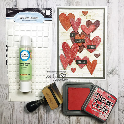 Valentine's Day Hearts Card by Yvonne van de Grijp for Scrapbook Adhesives by 3L