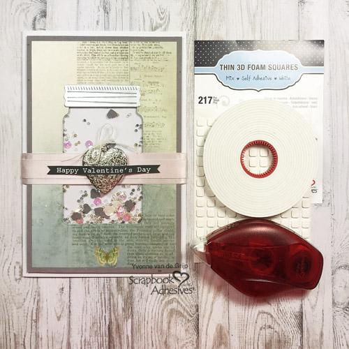 Valentine's Jar Shaker Card by Yvonne van de Grijp for Scrapbook Adhesives by 3L