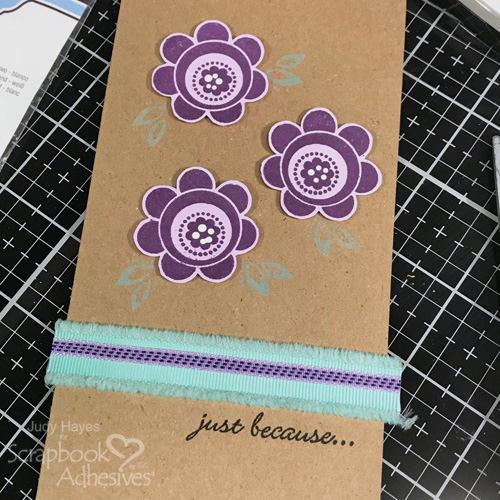 Just Because Flowers and Ribbon Card by Judy Hayes for Scrapbook Adhesives by 3L