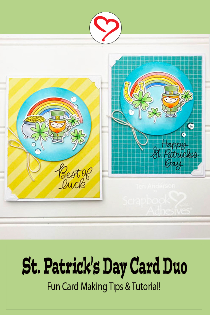 Best of Luck St. Patrick's Day Card Duo by Teri Anderson for Scrapbook Adhesives by 3L Pinterest