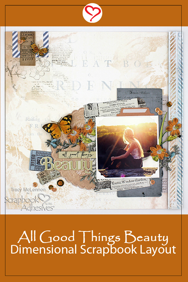 All Things Beauty Dimensional Layout by Tracy McLennon for Scrapbook Adhesives by 3L Pinterest