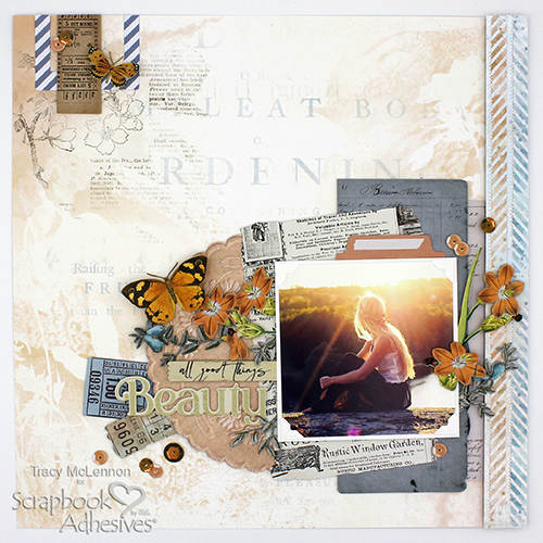All Things Beauty Dimensional Layout by Tracy McLennon for Scrapbook Adhesives by 3L