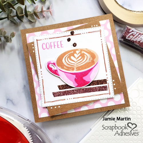 Glittered Coffee Card by Jamie Martin for Scrapbook Adhesives by 3L