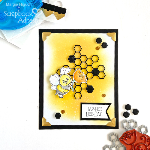 HapBee BeeDay Mixed Media Card by Margie Higuchi for Scrapbook Adhesives by 3L