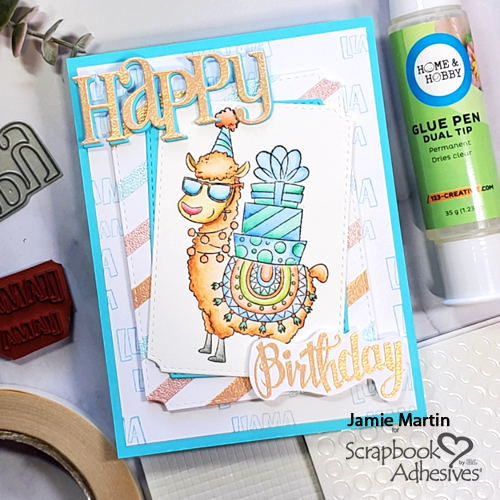 Happy Llama Birthday Card by Jamie Martin for Scrapbook Adhesives by 3L