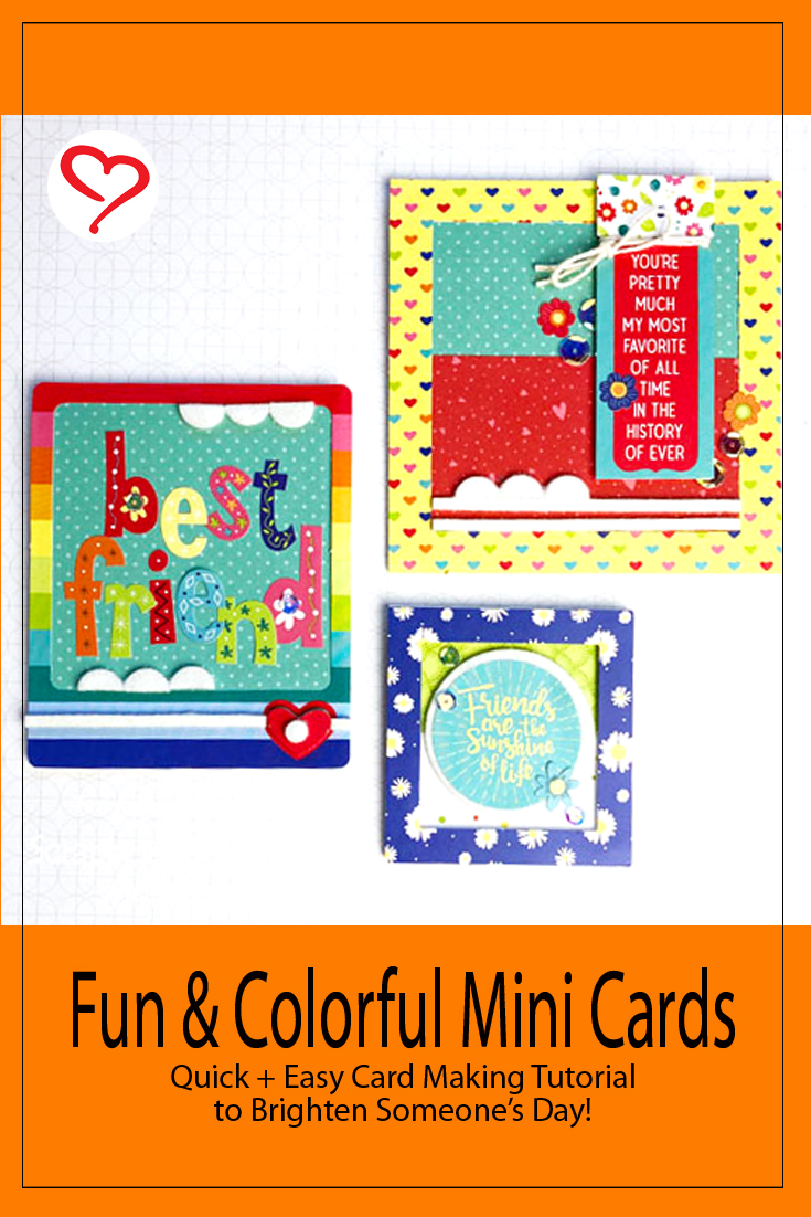 Fun and Colorful Mini Cards by Teri Anderson for Scrapbook Adhesives by 3L Pinterest